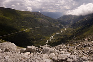 View from the Rhone glacier into the Rhone val...