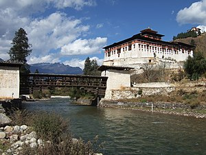 Rinpung Dzong - Rinpung Dzong at Paro with cantilever bridge 2007