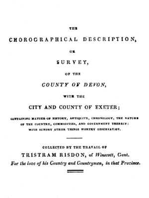 Tristram Risdon - The title page of the 1811 edition of Risdon's Survey of the County of Devon