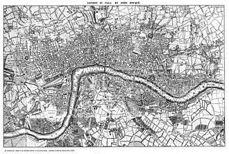 John Rocque - A twentieth-century reproduction of part of Rocque's Map of London, 1741-5