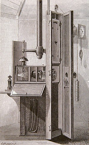 Francis Ronalds - The first successful camera for making continuous recordings of scientific instruments, built by Francis Ronalds in 1845.  This example is an electrograph measuring atmospheric electricity
