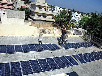 Rooftop photovoltaic power station - Image: Rooftop solar array at Kuppam i community office (54928934)