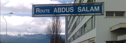 The road named after Abdus Salam in CERN, Geneva Routeabdussalam.png