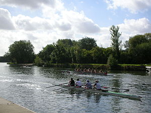 The Isis - Rowing on the Isis opposite the Oxford college boathouses.