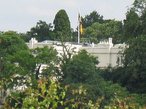 Royal Lodge - The banner of the Duke of York can be seen on a flagpole atop the Royal Lodge in 2008