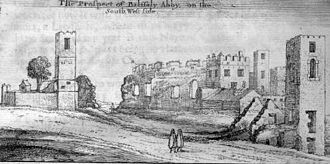 Rushen Abbey - A drawing of the Abbey ruins from 1656