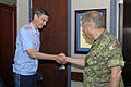 Russian Gen.-Maj. Dmitriy Viktorovich Gomenkov, left, the commander of the 12th Aerospace Defense Brigade, greets Canadian Lt. Gen. Alain Parent, the deputy commander of North American Aerospace Defense Command 130826-F-VT441-001.jpg