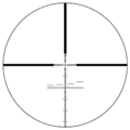 S&B P4 reticle at 5x zoom with 1.8 m (6 ft) tall man standing at 2,475 m (2,707 yd).png