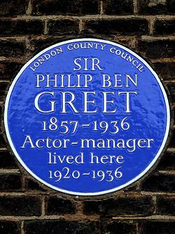 Sir philip ben greet 1857 1936 actor manager lived here 1920 1936