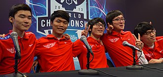 League of Legends World Championship - A group picture of SK Telecom T1, the champions of season 3.