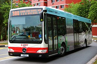 Choa Chu Kang - A typical SMRT bus about to enter the bus interchange. This one is the demonstrator unit for SMRT Buses' Mercedes-Benz OC500LE and it is the first bus to be registered under the SMB prefix (SMB1H).