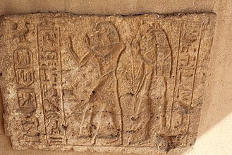 Faras - Stela, now in the National Museum of Sudan, with Setau, viceroy of Nubia, and his wife Nefro-mut worshipping Rameses II, whose Cartouche appears on the left side.