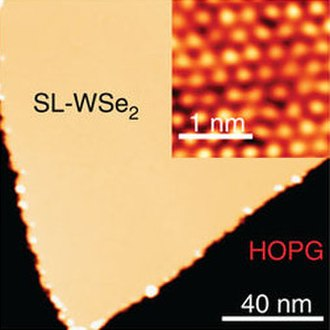 Tungsten diselenide - WSe2 monolayer on graphine (yellow) and its atomic image (inset)