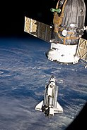 STS-131 Discovery approaches ISS for docking
