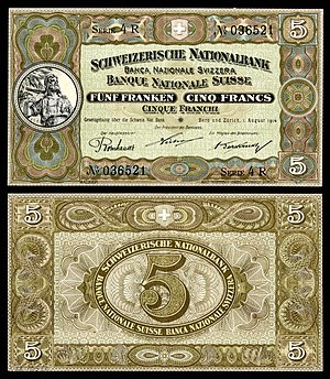 Swiss National Bank - Image: SWI 11b Confederation Schweizerische Nationalbank 5 Franken (1914)