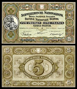 Swiss franc - Schweizerische Nationalbank (Swiss National Bank), 5 francs (1914). The portrait depicts William Tell (based on Richard Kissling's monument in Altdorf), with the Rütli Mountain in the distance.