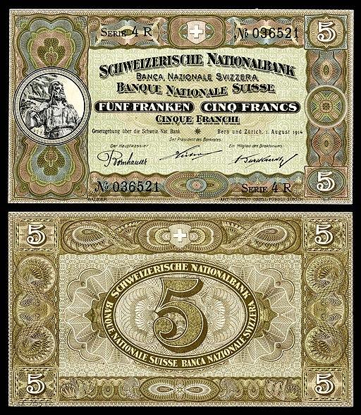 SWI-11b-Confederation Schweizerische Nationalbank-5 Franken (1914)