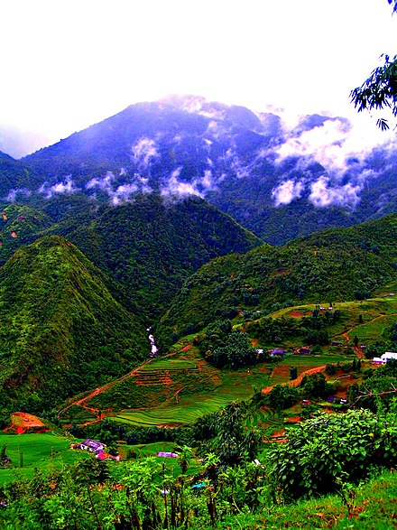 Sa Pa mountain hills with agricultural activities. Sa Pa mountain hills with agricultural activities.jpg