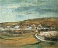 SaekiYūzō-1928-Village and a Hill.png