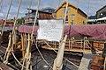 Saga Farmann Klåstadskipet viking ship replica built 2018 info board shroud (hofurbendur) Tønsberg havn brygge harbour pier dock brygga Tønsbergs Blad Sense Foynhagen Kaldnes bro footbridge etc Norway 2019-08-16 04249.jpg