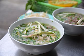 The Amazing Race 15 - The Speed Bump for this leg required Maria and Tiffany had to serve the traditional Vietnamese soup, phở, to the dockmaster in Cái Bè.