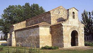 Horseshoe arch - Church of San Juan de Baños in Spain, Visigothic architecture 7th century.