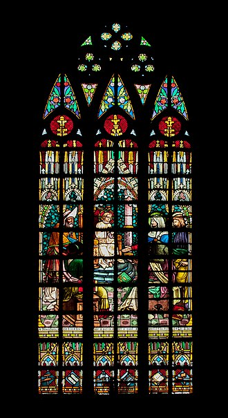 San Sebastian Church (Manila) - The Finding in the Temple stained glass window manufactured in Germany by the Heinrich Oidtmann Company.