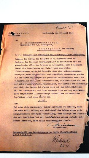 Stalag X-B - Letter dated 21 April 1945 about the handover of the camp, exhibited at Neuengamme concentration camp.