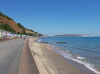 Sandown Bay - Sandown Bay at Lake, looking north-east towards Sandown, with Yaverland and Culver Down in the distance