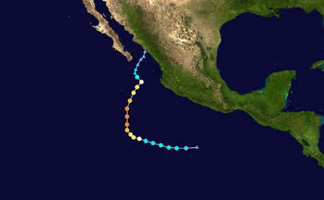 The track of Hurricane Sandra in 2015, which is the latest-forming Category 4 hurricane on record in the northeastern Pacific basin. Sandra 2015 track.png