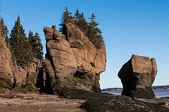 The Hopewell Rocks are rock formations located at the upper reaches of the Bay of Fundy, near Hopewell Cape. Sandstone in Canada - IMG 0791 (11385934064).jpg