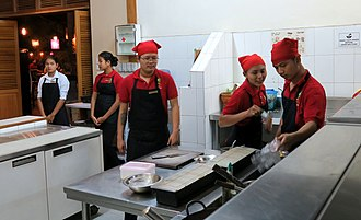 Apprenticeship - Students in a vocational training restaurant, Bagan (Myanmar).