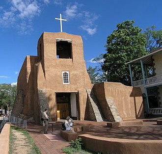 Camino Real de Tierra Adentro - The Spanish Mission of San Miguel in Santa Fe, New Mexico, it is the oldest church in the United States of America.