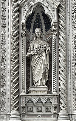 Statue of Saint Reparata, to whom the previous cathedral was dedicated, in the main portal Santa Reparata Florence.jpg