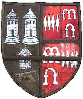 John Dynham, 1st Baron Dynham - Arms of Sapcotes impaling Dinham, Bampton Church