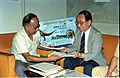 Saroj Ghose And Goto Executive Exchanging MOU Of Goto GSS-Helios And Astrovision-70 Projection System For Science City - NCSM - Calcutta 1995-06-15 248.JPG