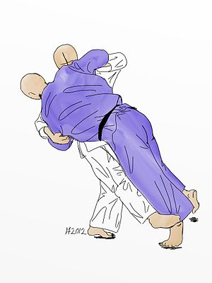 Sasae tsurikomi ashi - Illustration of Sasae-tsuri-komi-ashi Judo throw