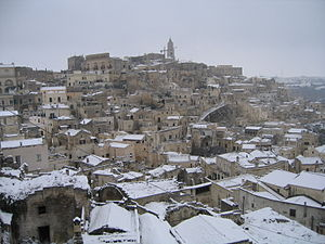 Sassi di Matera - Sassi with snow (December 2007)