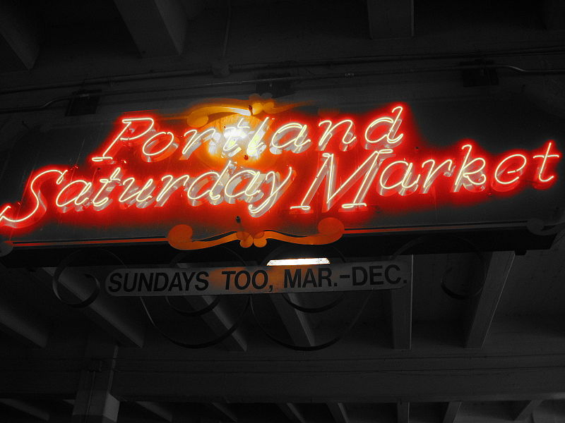 Portland Saturday Market Sign. 50 Miles from Whispering Woods Resort in the Mt. Hood Territory.