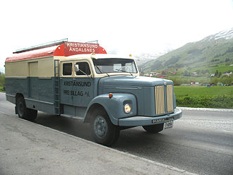 Bruck (vehicle) - 1960 Scania-Vabis L75 bodied by Kristiansund Lettmetall, carrying six passengers.