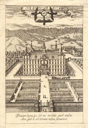 Eggenberg Palace, Graz - Ideal perspective of Eggenberg. Copper etching by Andreas Trost, before 1700