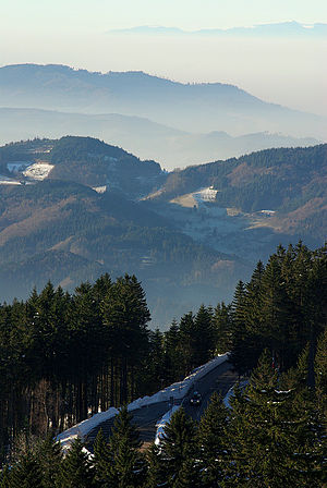 Schwarzwaldhochstraße - The Schwarzwaldhochstraße on the Mummelsee. The Vosges visible on the horizon over the fog-filled Rhine valley.