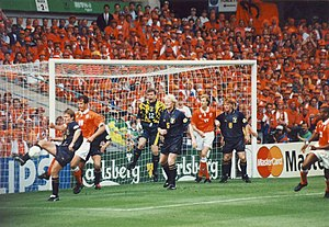 Andy Goram - Goram (number 12) playing for Scotland against Netherlands at Euro 96
