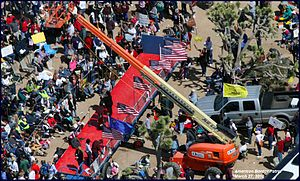 English: Aerial photo of Tea Party rally to ou...