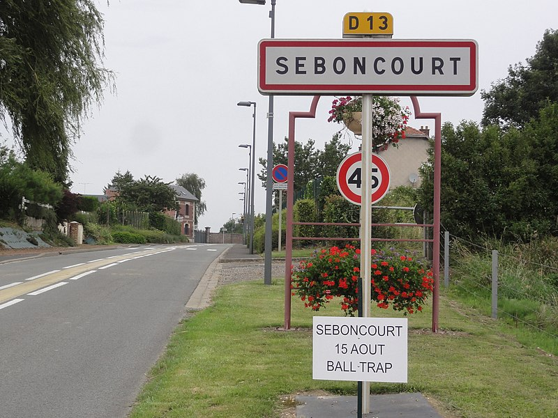 Seboncourt (Aisne) city limit sign