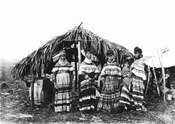 A black and white photograph of four Seminole women and a child standing in front of a chickee wearing bright cotton Seminole patterns