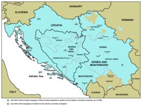 Territoire où les variétés de la langue serbo-croate sont parlées (en bleu)