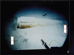 USS Scorpion (SSN-589) - Broken inboard end of Scorpion shaft lying on ocean bottom