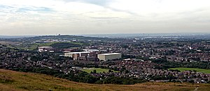 Shaw and Crompton - Image: Shaw, Royton, Oldham and Manchester from Crompton Moor