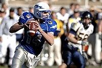 A quarterback passing.